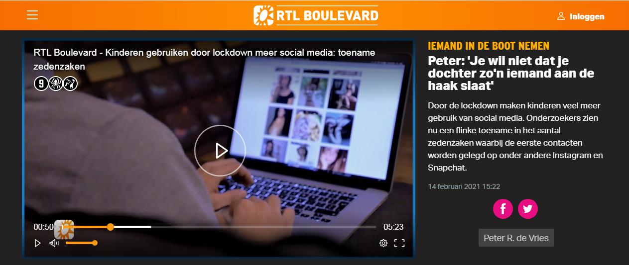RTL, boulevard, loverboys, sexting, gevaren, social, media, seks, porno, naakt, online, meisjes, jongens, jeugd, lockdown, peter r. de vries, politie, hulp, instagram, snapchat, tiktok